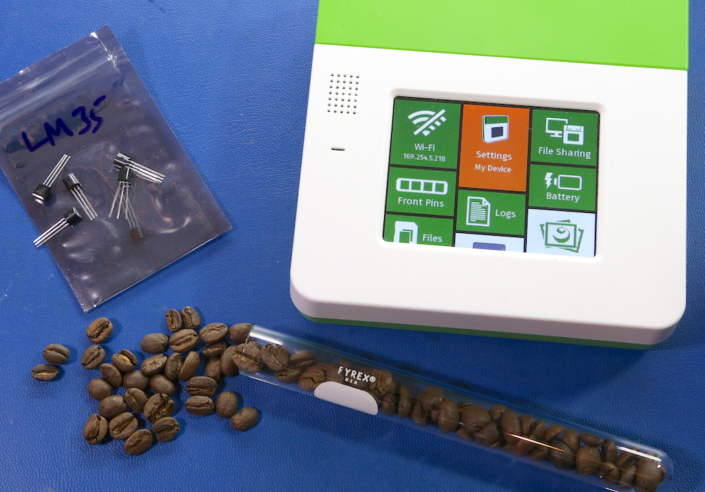 Kinoma Create, coffee beans, and LM-35 sensors