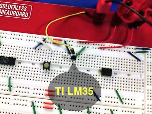 LM-35 in a solderless breadboard