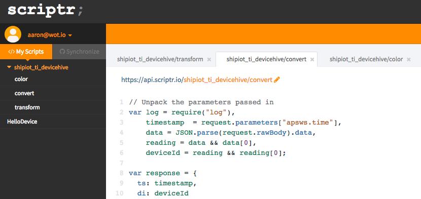 scriptr.io Screenshot