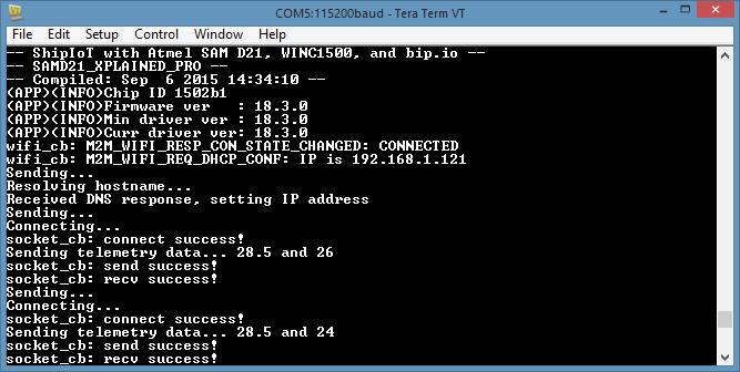 Ship IoT with Atmel SAMD21 Xplained Pro, WINC1500 WiFi, and I/O1